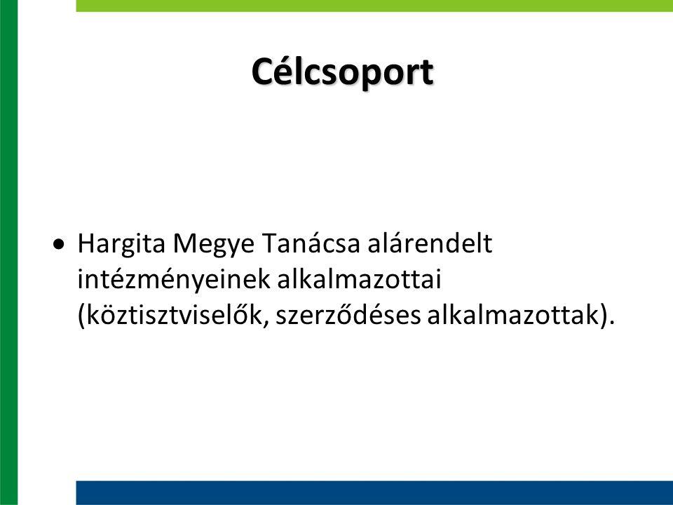 Célcsoport  Hargita Megye Tanácsa alárendelt intézményeinek alkalmazottai (köztisztviselők, szerződéses alkalmazottak).