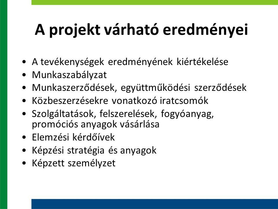 A projekt várható eredményei A tevékenységek eredményének kiértékelése Munkaszabályzat Munkaszerződések, együttműködési szerződések Közbeszerzésekre v