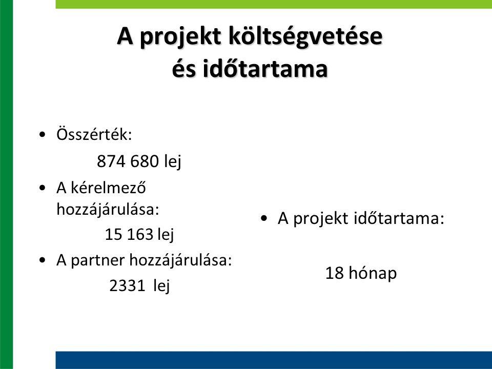 A projekt költségvetése és időtartama Összérték: 874 680 lej A kérelmező hozzájárulása: 15 163 lej A partner hozzájárulása: 2331 lej A projekt időtartama: 18 hónap