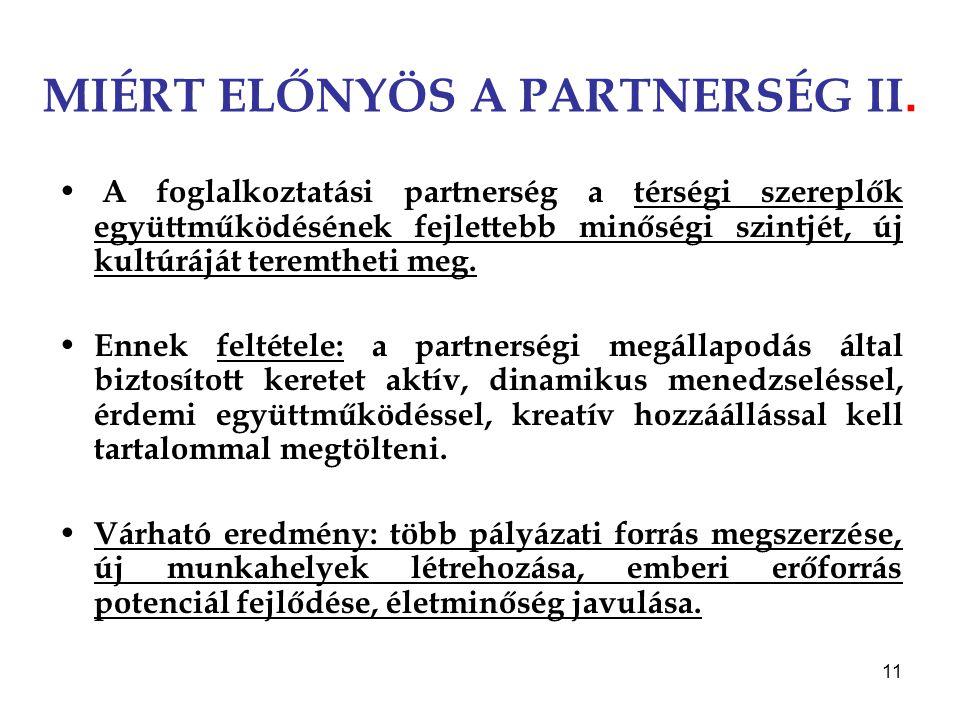 11 MIÉRT ELŐNYÖS A PARTNERSÉG II. A foglalkoztatási partnerség a térségi szereplők együttműködésének fejlettebb minőségi szintjét, új kultúráját terem