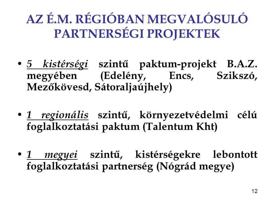 12 AZ É.M. RÉGIÓBAN MEGVALÓSULÓ PARTNERSÉGI PROJEKTEK 5 kistérségi szintű paktum-projekt B.A.Z. megyében (Edelény, Encs, Szikszó, Mezőkövesd, Sátoralj