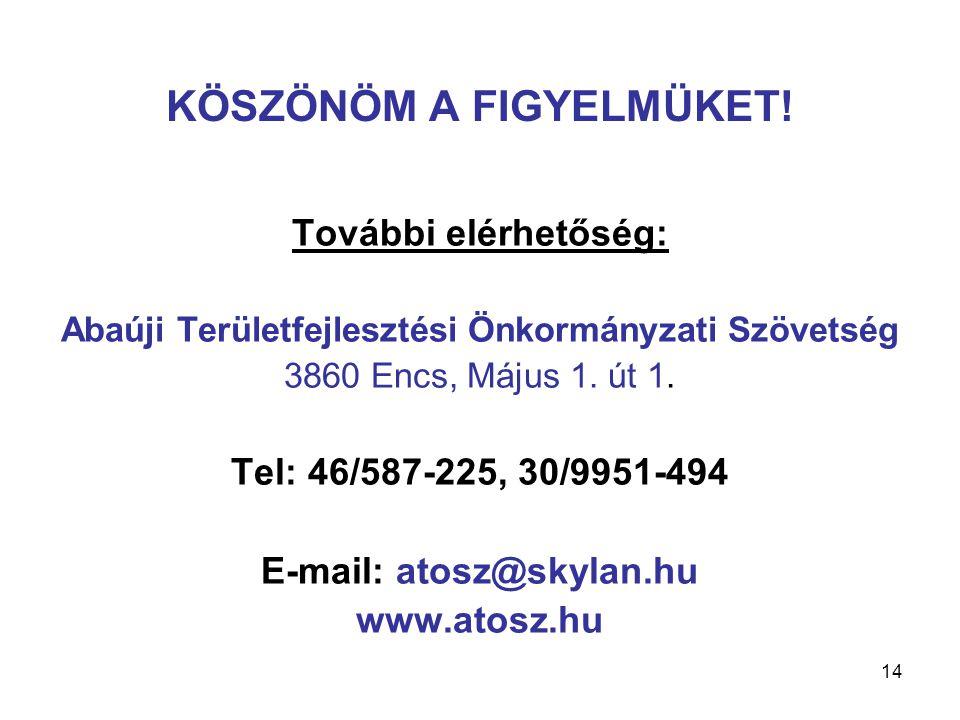 15 A Foglalkoztatási Paktum aláírói Abaúji Területfejlesztési Önkormányzati Szövetség Észak-magyarországi Regionális Munkaügyi Központ és térségi kirendeltségei Borsod-Abaúj-Zemplén Megyei Kereskedelmi és Iparkamara Borsod-Abaúj-Zemplén Megyei Agrárkamara Encsi Többcélú Kistérségi Társulás Abaúj Térségi Gazdaság- és Vállalkozásfejlesztési Alapítvány Encsi és Abaúji Pályakezdők Álláskeresők és Munkanélküliek Egyesülete ABAÉPKER Abaúji Építőipari és Kereskedelmi Kft.