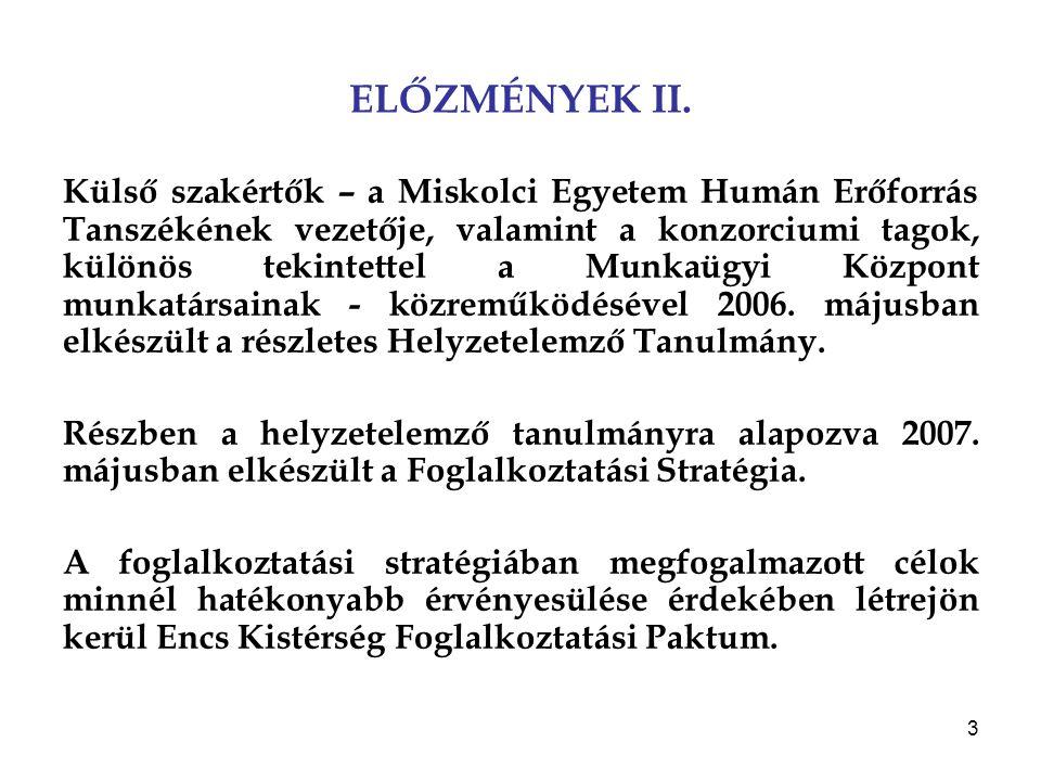 3 ELŐZMÉNYEK II. Külső szakértők – a Miskolci Egyetem Humán Erőforrás Tanszékének vezetője, valamint a konzorciumi tagok, különös tekintettel a Munkaü