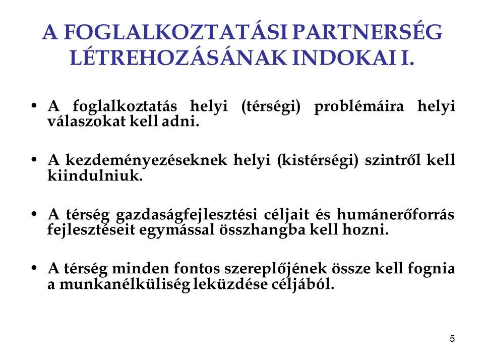 5 A FOGLALKOZTATÁSI PARTNERSÉG LÉTREHOZÁSÁNAK INDOKAI I. A foglalkoztatás helyi (térségi) problémáira helyi válaszokat kell adni. A kezdeményezéseknek