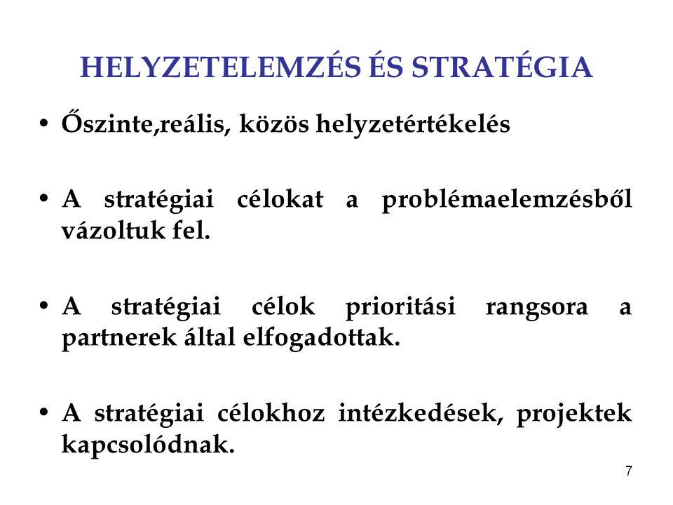 7 HELYZETELEMZÉS ÉS STRATÉGIA Őszinte,reális, közös helyzetértékelés A stratégiai célokat a problémaelemzésből vázoltuk fel. A stratégiai célok priori