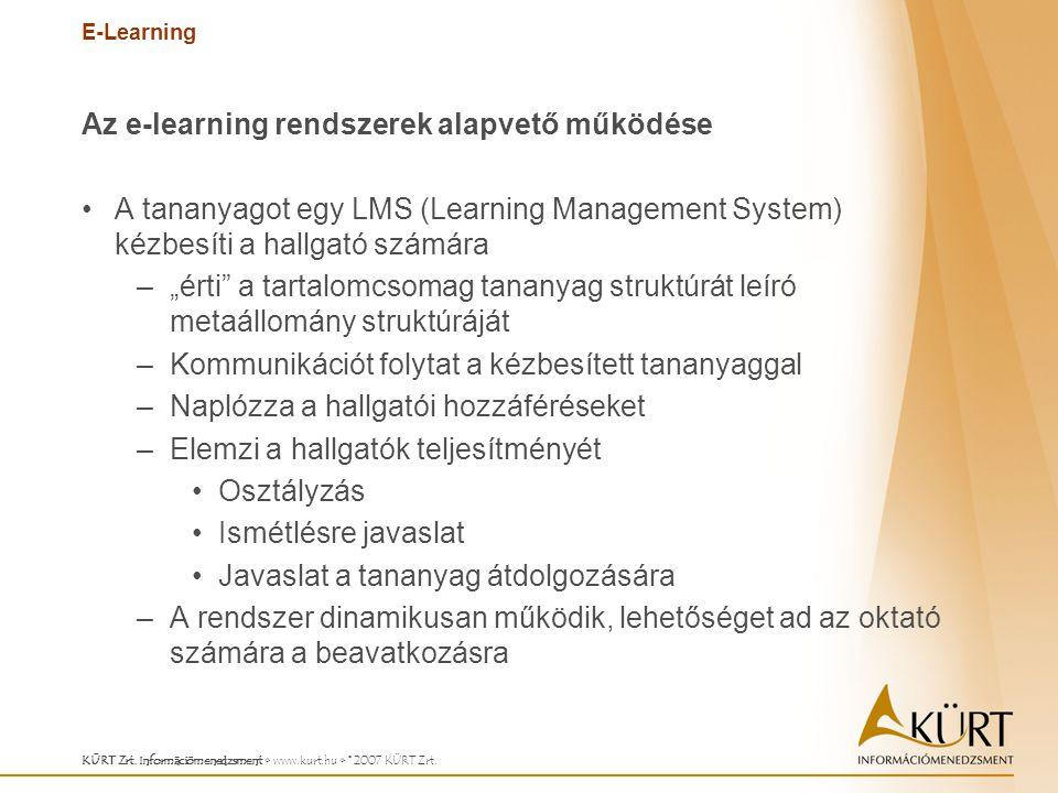 E-Learning KÜRT Zrt. Információmenedzsment www.kurt.hu © 2007 KÜRT Zrt. Az e-learning rendszerek alapvető működése A tananyagot egy LMS (Learning Mana