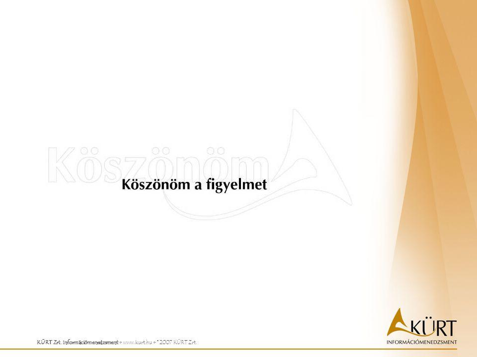 KÜRT Zrt. Információmenedzsment www.kurt.hu © 2007 KÜRT Zrt.