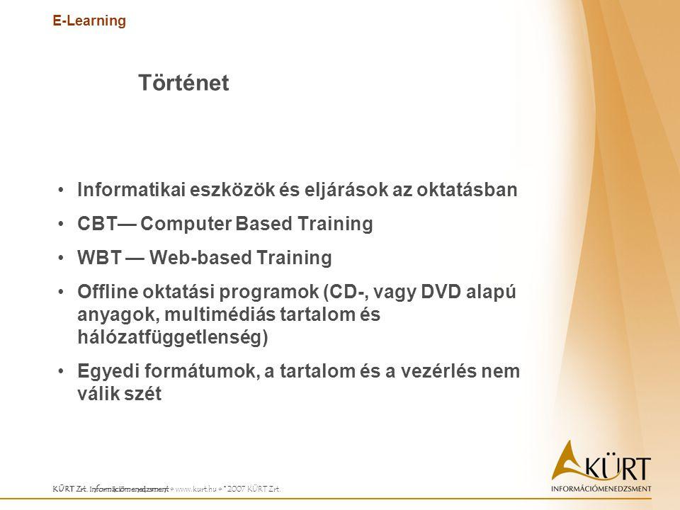 E-Learning KÜRT Zrt. Információmenedzsment www.kurt.hu © 2007 KÜRT Zrt. Informatikai eszközök és eljárások az oktatásban CBT— Computer Based Training