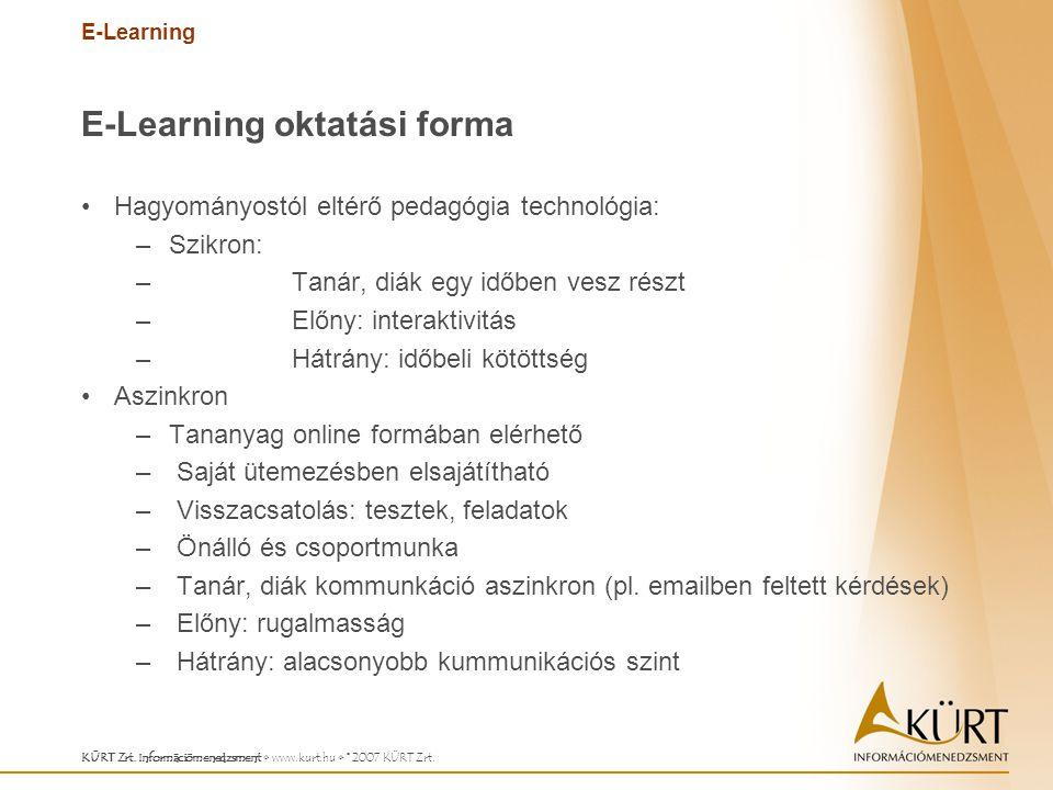 E-Learning KÜRT Zrt. Információmenedzsment www.kurt.hu © 2007 KÜRT Zrt. E-Learning oktatási forma Hagyományostól eltérő pedagógia technológia: –Szikro