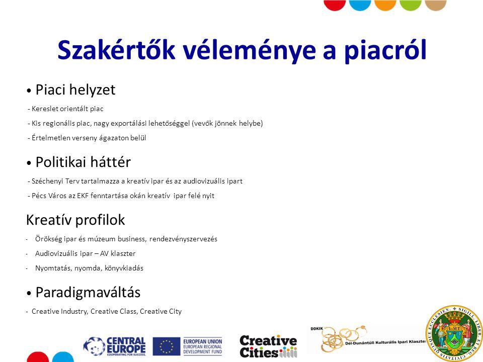 Put your logo here Piaci helyzet - Kereslet orientált piac - Kis regionális piac, nagy exportálási lehetőséggel (vevők jönnek helybe) - Értelmetlen verseny ágazaton belül Politikai háttér - Széchenyi Terv tartalmazza a kreatív ipar és az audiovizuális ipart - Pécs Város az EKF fenntartása okán kreatív ipar felé nyit Kreatív profilok - Örökség ipar és múzeum business, rendezvényszervezés - Audiovizuális ipar – AV klaszter - Nyomtatás, nyomda, könyvkiadás Paradigmaváltás - Creative Industry, Creative Class, Creative City Szakértők véleménye a piacról