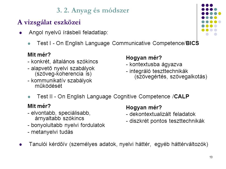 19 Angol nyelvű írásbeli feladatlap: Test I - On English Language Communicative Competence/BICS Test II - On English Language Cognitive Competence /CA