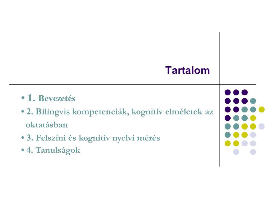 Tartalom 1. Bevezetés 2. B ilingvis kompetenciák, kognitív elméletek az oktatásban 3. Felszíni és kognitív nyelvi mérés 4. Tanulságok