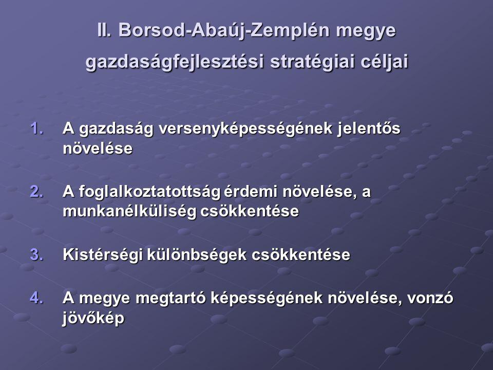 II. Borsod-Abaúj-Zemplén megye gazdaságfejlesztési stratégiai céljai 1.A gazdaság versenyképességének jelentős növelése 2.A foglalkoztatottság érdemi