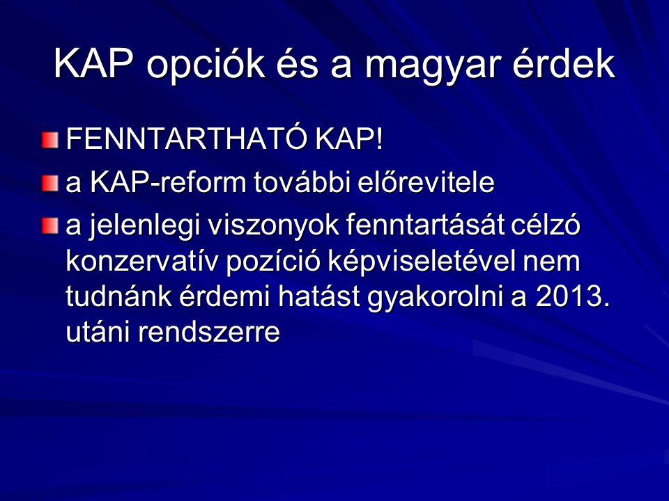 KAP opciók és a magyar érdek FENNTARTHATÓ KAP.