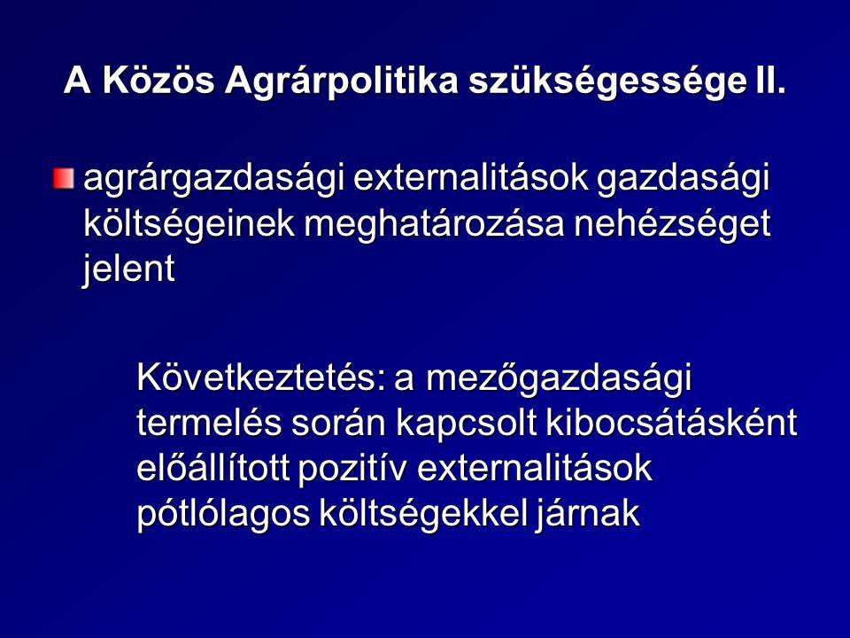 A Közös Agrárpolitika szükségessége II.