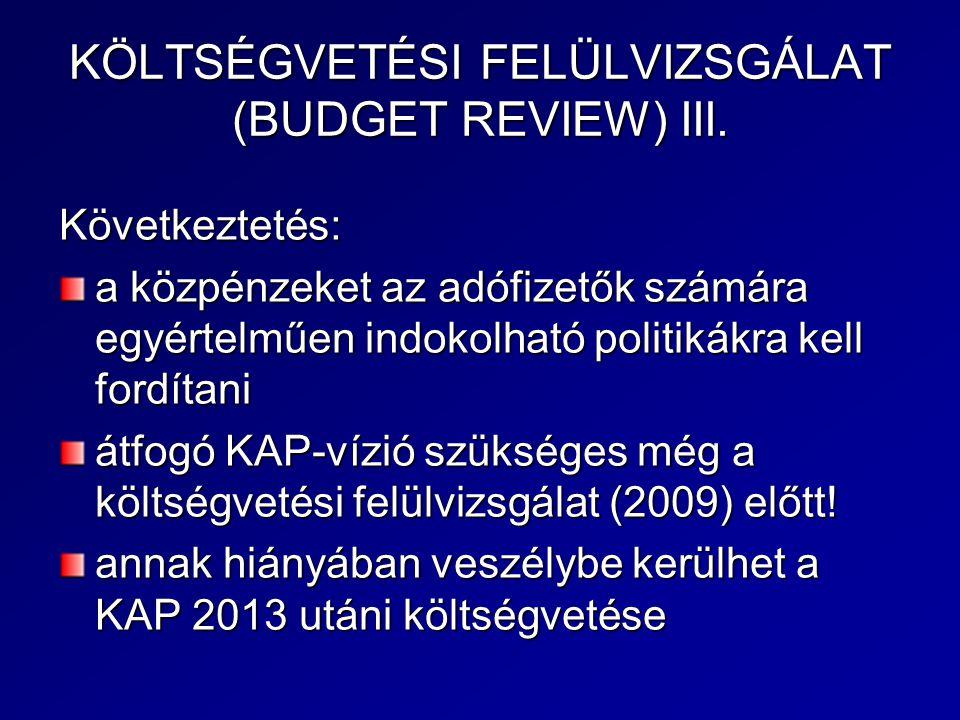 KÖLTSÉGVETÉSI FELÜLVIZSGÁLAT (BUDGET REVIEW) III.