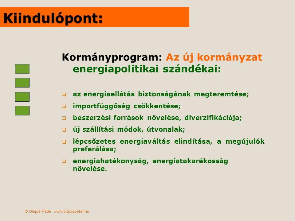 Általános kormányzati célok  versenyképes energiaár a gazdaságnak;  megfizethető energiaár a lakosságnak;  munkahelyteremtés;  zöld gazdaság kialakítása, zöld technológiák meghonosítása;  mezőgazdaság jövedelmezőségének növelése;  területfejlesztés, vidékfejlesztés (kohéziós politika)  építőipari növekedés, hazai iparpolitika segítése;  a klímaegyezmények betartása, a klímaváltozásra való felkészülés elősegítése;  2011 soros EU elnökség kiszolgálása (május=energia) … © Olajos Péter www.olajospeter.hu