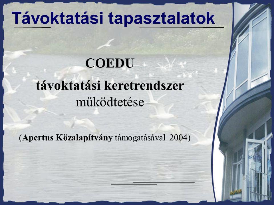 Távoktatási tapasztalatok COEDU távoktatási keretrendszer működtetése (Apertus Közalapítvány támogatásával 2004)
