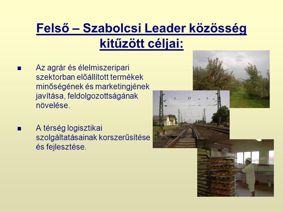 Felső – Szabolcsi Leader közösség kitűzött céljai: Az agrár és élelmiszeripari szektorban előállított termékek minőségének és marketingjének javítása, feldolgozottságának növelése.