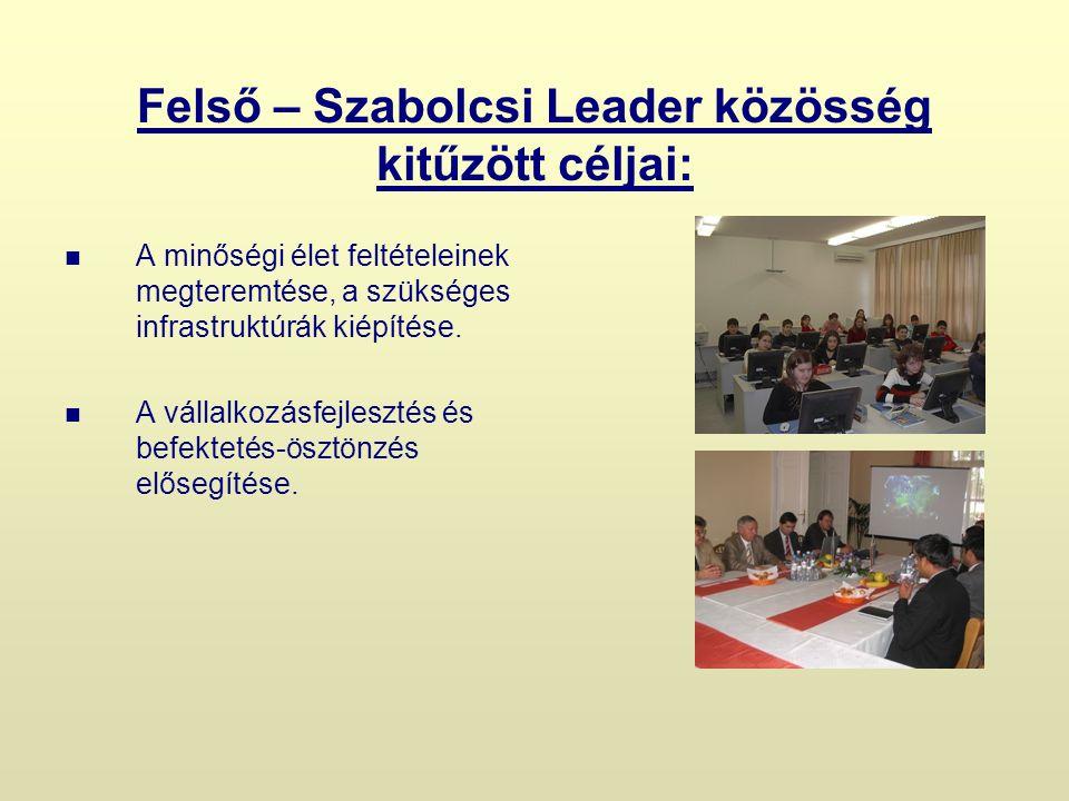 Felső – Szabolcsi Leader közösség kitűzött céljai: A minőségi élet feltételeinek megteremtése, a szükséges infrastruktúrák kiépítése.