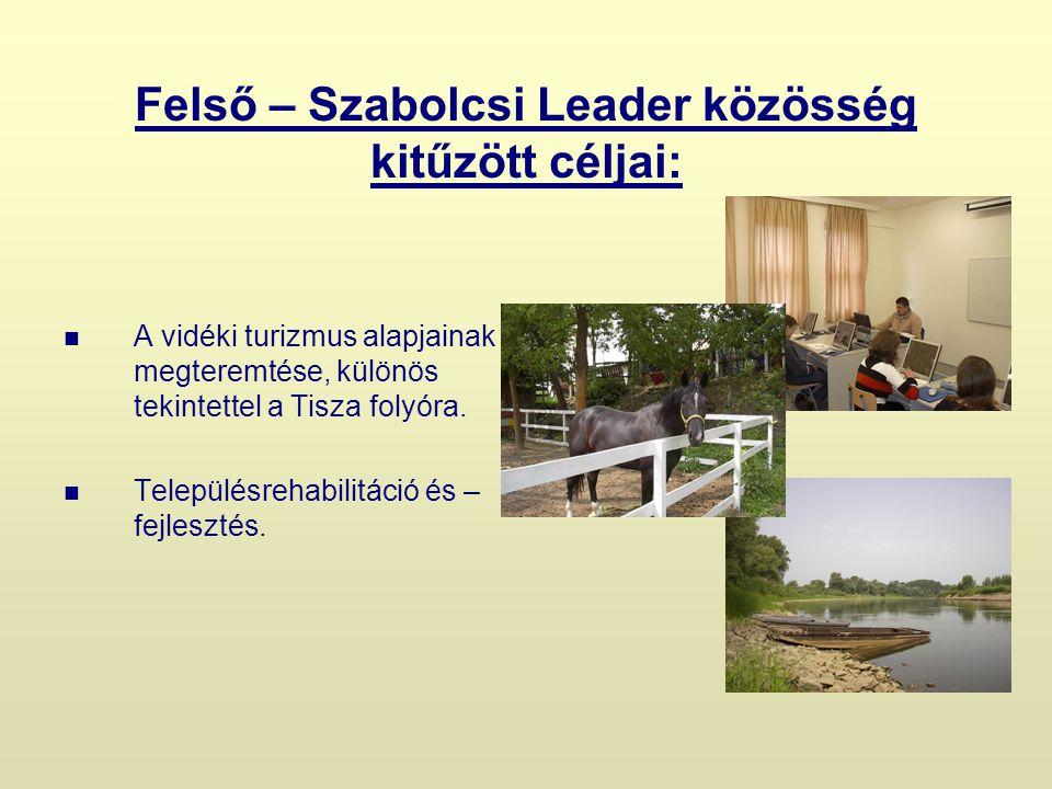 Felső – Szabolcsi Leader közösség kitűzött céljai: A vidéki turizmus alapjainak megteremtése, különös tekintettel a Tisza folyóra.
