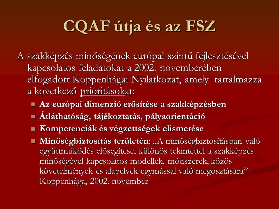 Minőség a szakképzésben EU Szakmai Munkacsoport (TWG) 2003-ban kidolgozta a szakképzésben alkalmazandó európai szinten közös minőségbiztosítási keretrendszert (CQAF).