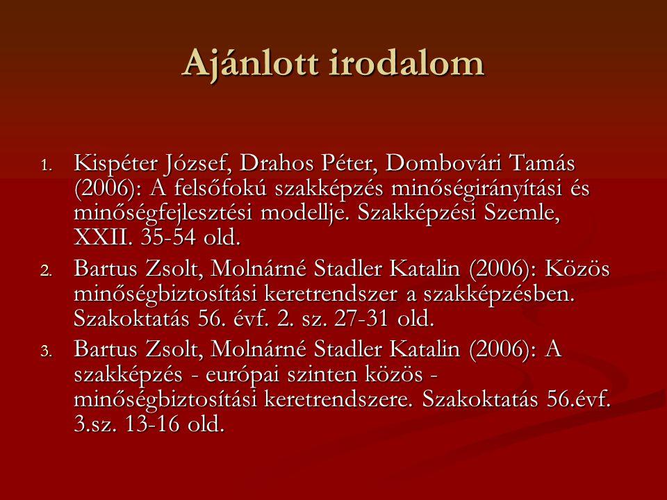 Ajánlott irodalom 1. Kispéter József, Drahos Péter, Dombovári Tamás (2006): A felsőfokú szakképzés minőségirányítási és minőségfejlesztési modellje. S