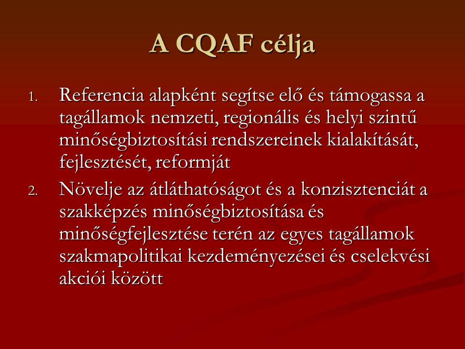 A CQAF célja 1. Referencia alapként segítse elő és támogassa a tagállamok nemzeti, regionális és helyi szintű minőségbiztosítási rendszereinek kialakí