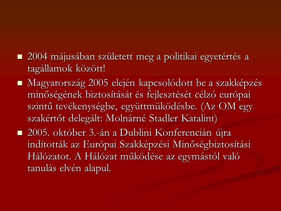 2004 májusában született meg a politikai egyetértés a tagállamok között! 2004 májusában született meg a politikai egyetértés a tagállamok között! Magy