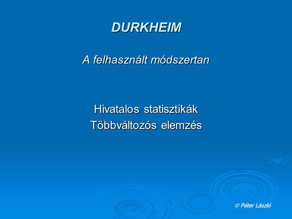 DURKHEIM A felhasznált módszertan Hivatalos statisztikák Többváltozós elemzés  Péter László