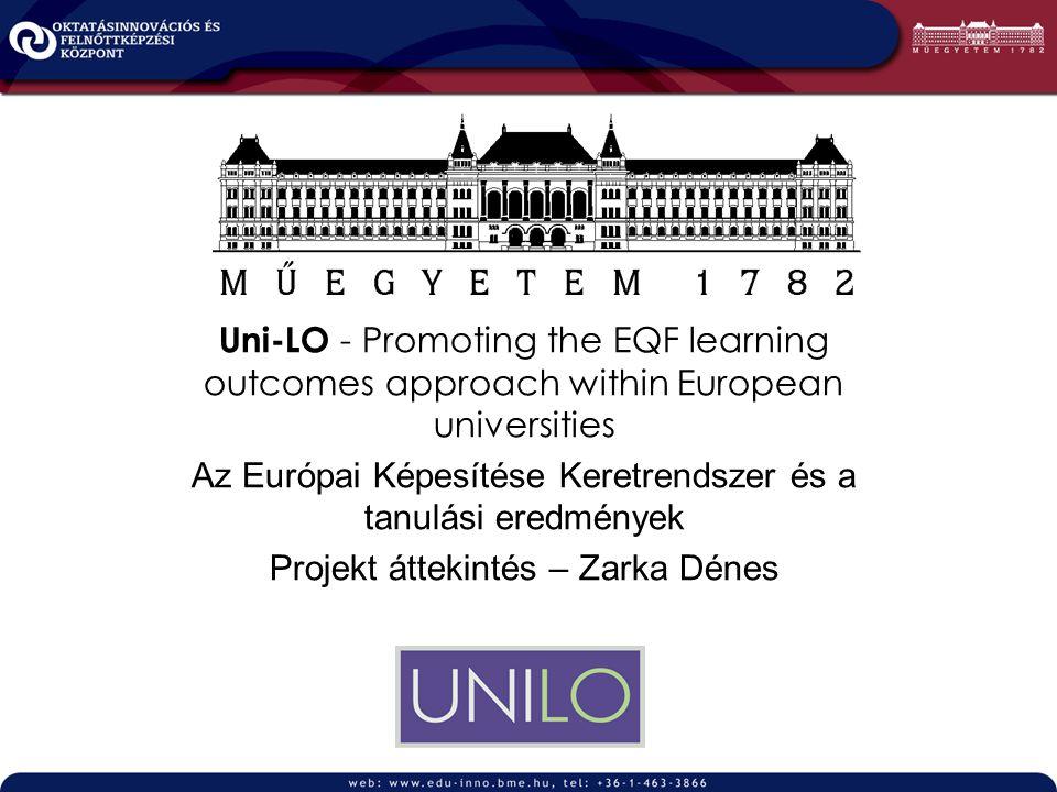Uni-LO - Promoting the EQF learning outcomes approach within European universities Az Európai Képesítése Keretrendszer és a tanulási eredmények Projekt áttekintés – Zarka Dénes