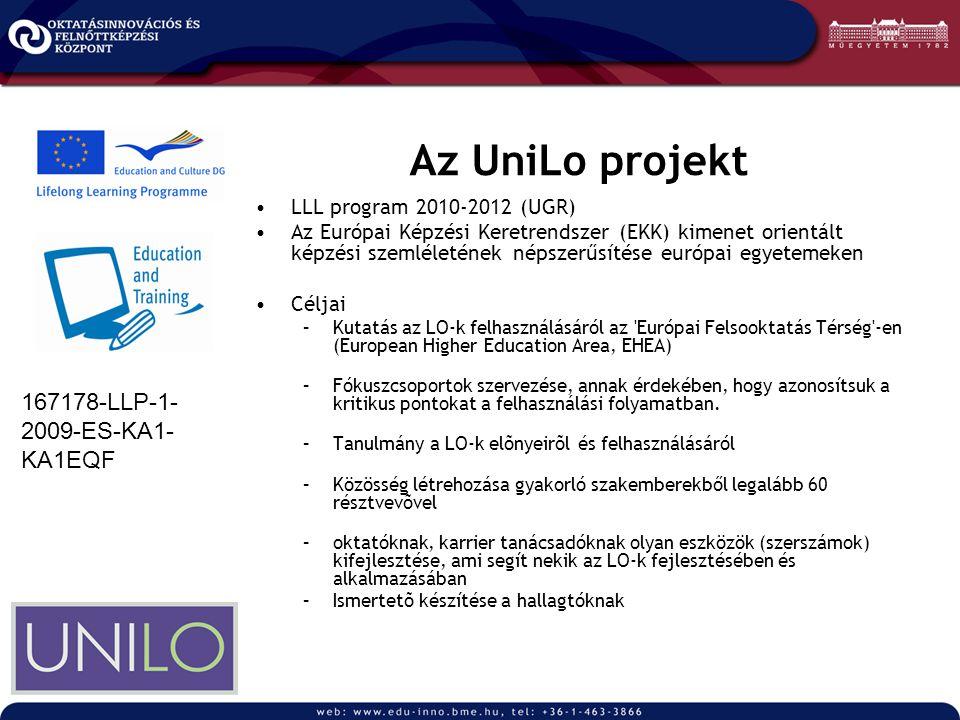 Az UniLo projekt LLL program 2010-2012 (UGR) Az Európai Képzési Keretrendszer (EKK) kimenet orientált képzési szemléletének népszerűsítése európai egyetemeken Céljai –Kutatás az LO-k felhasználásáról az Európai Felsooktatás Térség -en (European Higher Education Area, EHEA) –Fókuszcsoportok szervezése, annak érdekében, hogy azonosítsuk a kritikus pontokat a felhasználási folyamatban.