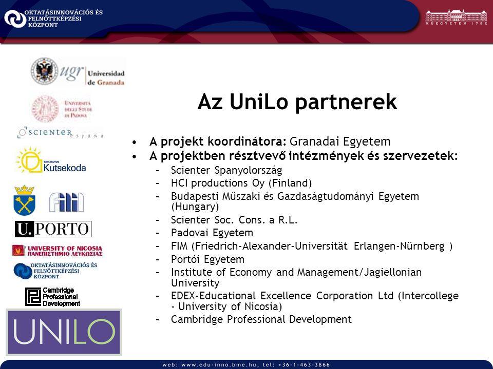 Az UniLo partnerek A projekt koordinátora: Granadai Egyetem A projektben résztvevő intézmények és szervezetek: –Scienter Spanyolország –HCI production