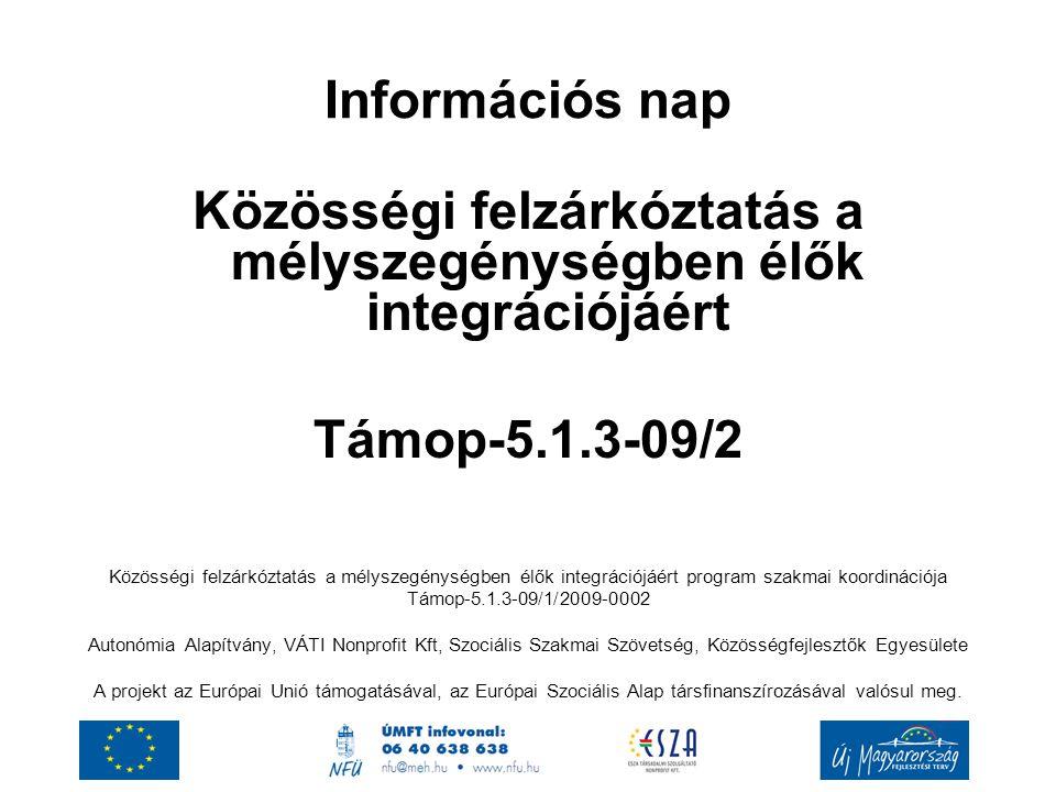 Információs nap Közösségi felzárkóztatás a mélyszegénységben élők integrációjáért Támop-5.1.3-09/2 Közösségi felzárkóztatás a mélyszegénységben élők i
