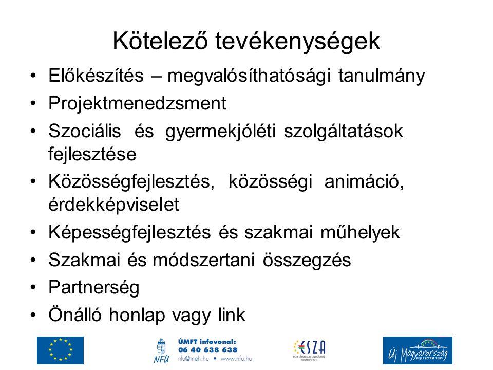 Kötelező tevékenységek Előkészítés – megvalósíthatósági tanulmány Projektmenedzsment Szociális és gyermekjóléti szolgáltatások fejlesztése Közösségfej