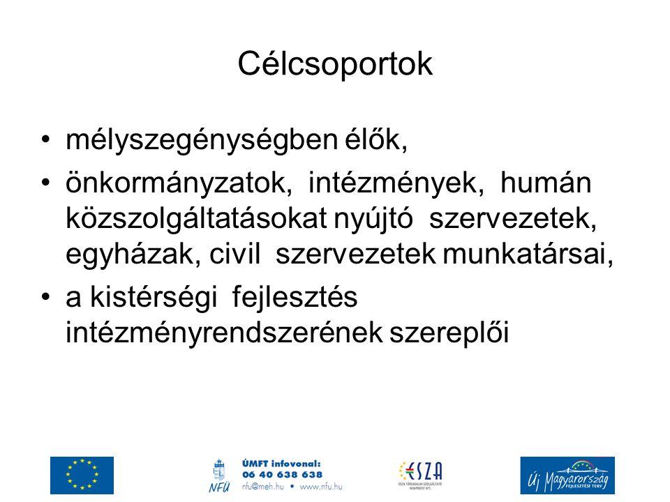 Célcsoportok mélyszegénységben élők, önkormányzatok, intézmények, humán közszolgáltatásokat nyújtó szervezetek, egyházak, civil szervezetek munkatársa