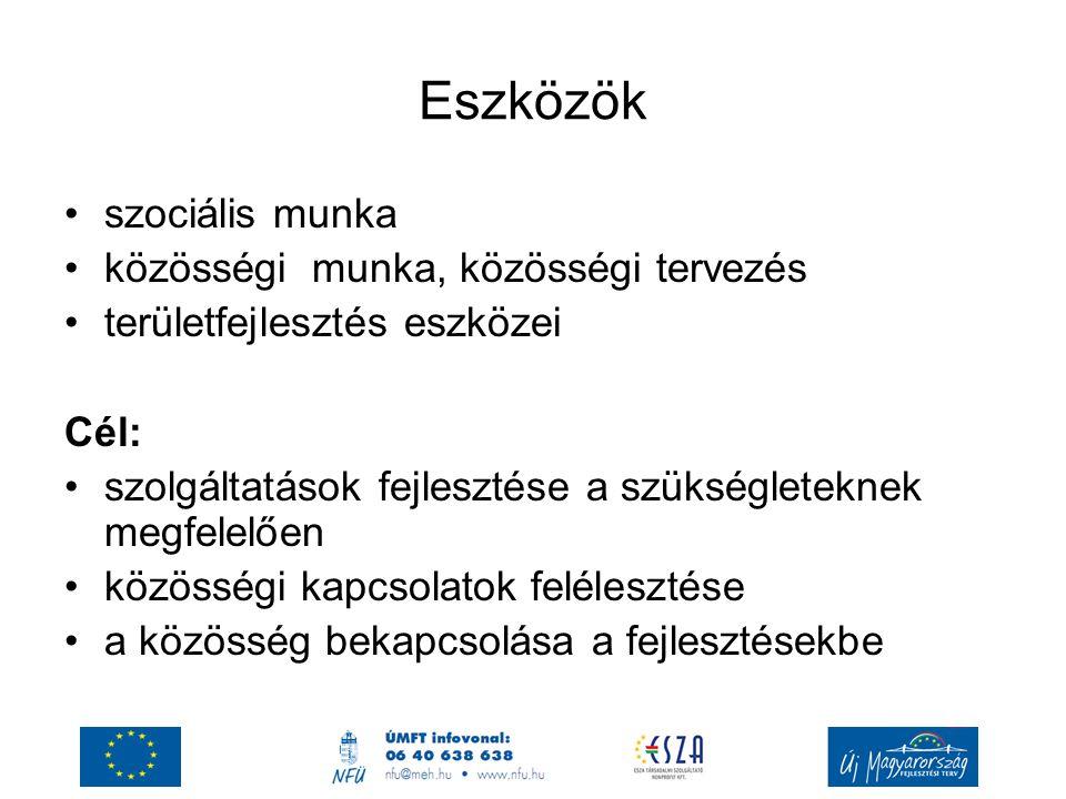 Eszközök szociális munka közösségi munka, közösségi tervezés területfejlesztés eszközei Cél: szolgáltatások fejlesztése a szükségleteknek megfelelően