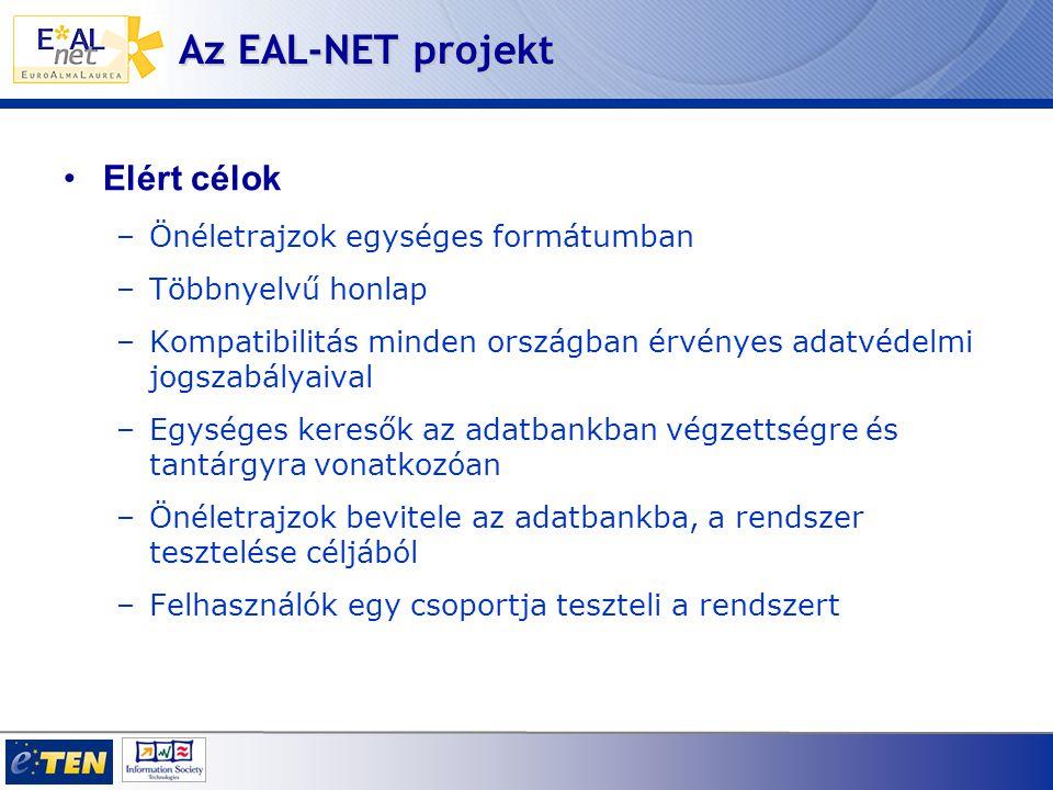 Az EAL-NET projekt Elért célok –Önéletrajzok egységes formátumban –Többnyelvű honlap –Kompatibilitás minden országban érvényes adatvédelmi jogszabályaival –Egységes keresők az adatbankban végzettségre és tantárgyra vonatkozóan –Önéletrajzok bevitele az adatbankba, a rendszer tesztelése céljából –Felhasználók egy csoportja teszteli a rendszert