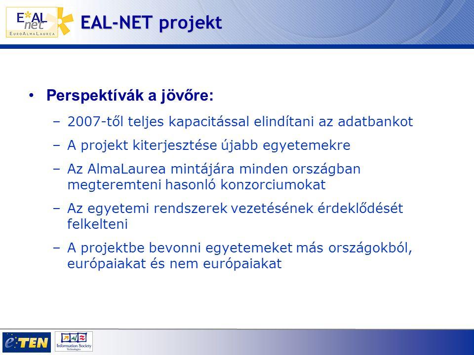 EAL-NET projekt Perspektívák a jövőre: –2007-től teljes kapacitással elindítani az adatbankot –A projekt kiterjesztése újabb egyetemekre –Az AlmaLaurea mintájára minden országban megteremteni hasonló konzorciumokat –Az egyetemi rendszerek vezetésének érdeklődését felkelteni –A projektbe bevonni egyetemeket más országokból, európaiakat és nem európaiakat