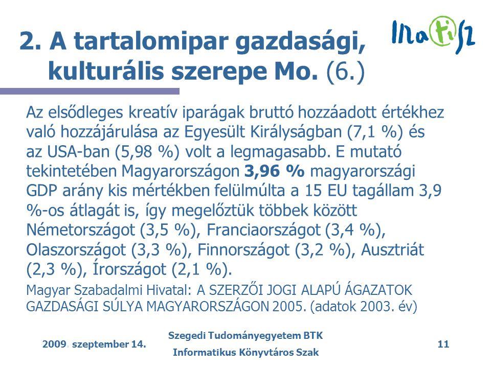 2009. szeptember 14. Szegedi Tudományegyetem BTK Informatikus Könyvtáros Szak 11 2.