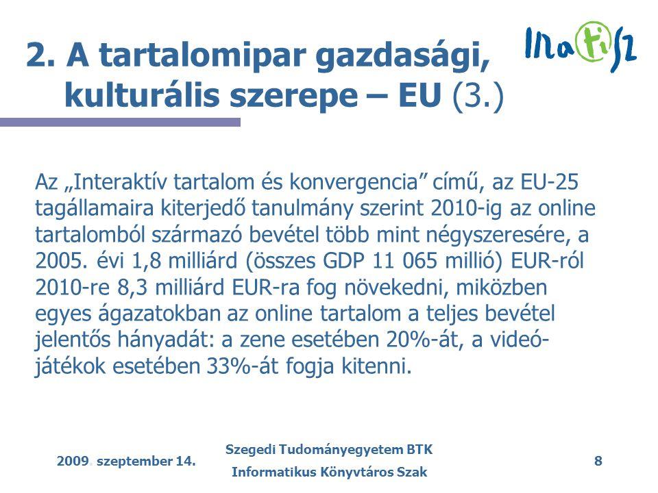 2009.szeptember 14. Szegedi Tudományegyetem BTK Informatikus Könyvtáros Szak 9 2.