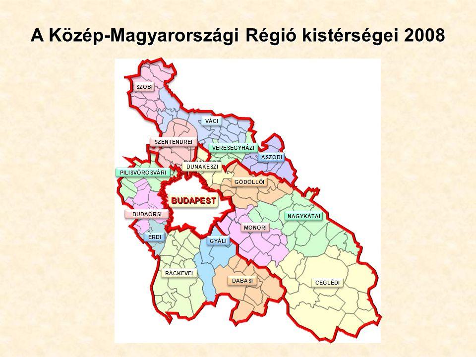 ÉRDI BUDAÖRSI SZOBI VÁCI VERESEGYHÁZI ASZÓDI SZENTENDREI DUNAKESZI GÖDÖLLŐI NAGYKÁTAI CEGLÉDI PILISVÖRÖSVÁRI MONORI DABASI GYÁLI RÁCKEVEI ÉRDI BUDAÖRSI BUDAPEST A Közép-Magyarországi Régió kistérségei 2008