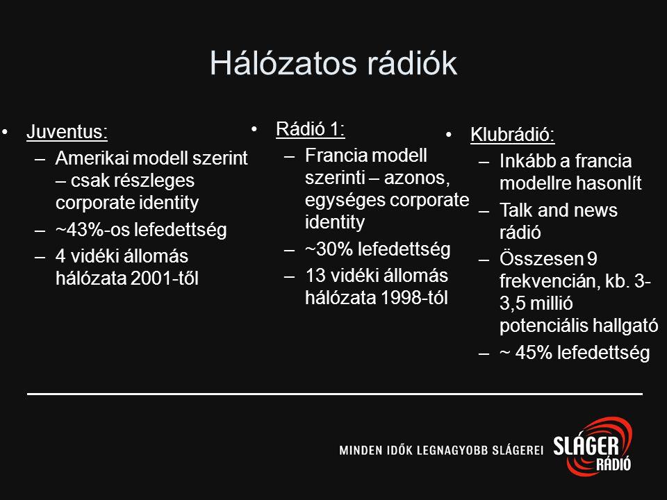 Danubius: –11 adótorony –67 %-os országos lefedettség –Pénzügyi befektetői háttér (Advent International) Országos kereskedelmi rádiók Sláger: –16 adót