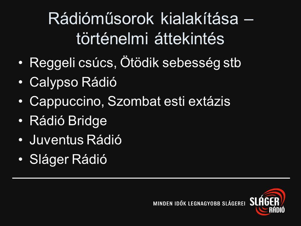 Magyar rádiók – történeti áttekintés Közszolgálati rádiók –Kossuth –Petőfi –Bartók Kereskedelmi rádiók a 90-es évek elején –Danubius –Calypso –Juventu