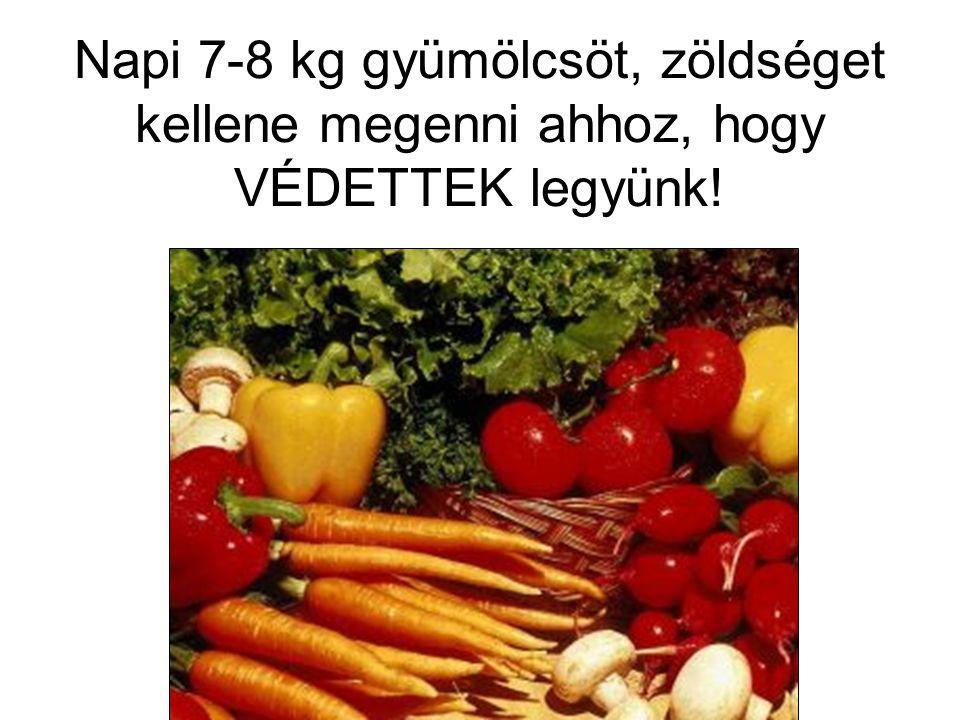 Napi 7-8 kg gyümölcsöt, zöldséget kellene megenni ahhoz, hogy VÉDETTEK legyünk!