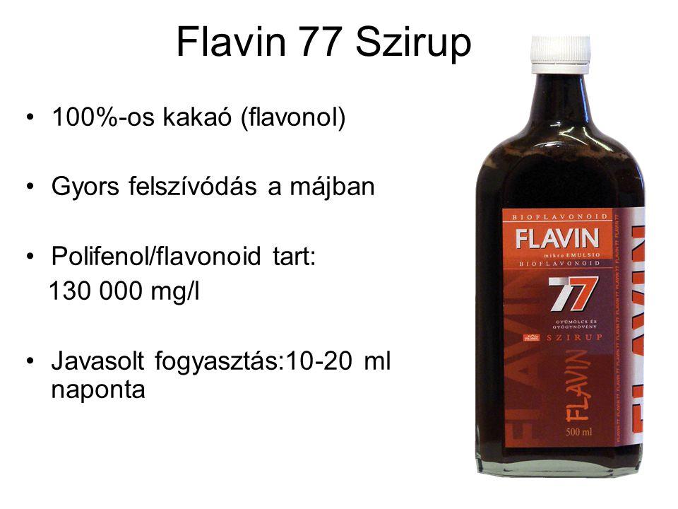 Flavin 77 Szirup 100%-os kakaó (flavonol) Gyors felszívódás a májban Polifenol/flavonoid tart: 130 000 mg/l Javasolt fogyasztás:10-20 ml naponta
