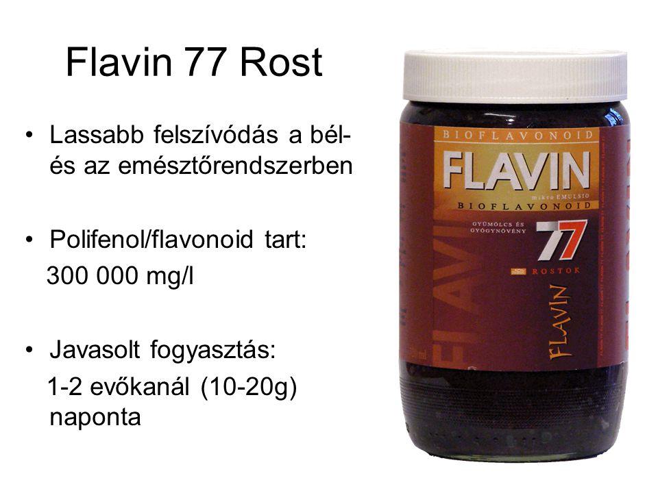 Flavin 77 Rost Lassabb felszívódás a bél- és az emésztőrendszerben Polifenol/flavonoid tart: 300 000 mg/l Javasolt fogyasztás: 1-2 evőkanál (10-20g) naponta