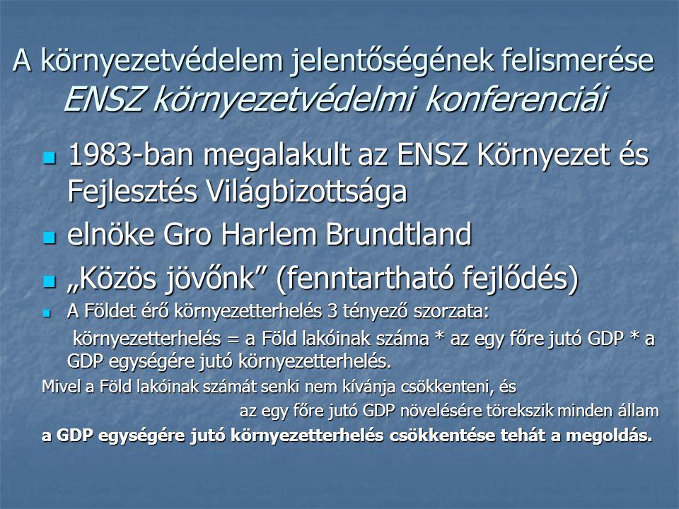 """A környezetvédelem jelentőségének felismerése ENSZ környezetvédelmi konferenciái 1983-ban megalakult az ENSZ Környezet és Fejlesztés Világbizottsága 1983-ban megalakult az ENSZ Környezet és Fejlesztés Világbizottsága elnöke Gro Harlem Brundtland elnöke Gro Harlem Brundtland """"Közös jövőnk (fenntartható fejlődés) """"Közös jövőnk (fenntartható fejlődés) A Földet érő környezetterhelés 3 tényező szorzata: A Földet érő környezetterhelés 3 tényező szorzata: környezetterhelés = a Föld lakóinak száma * az egy főre jutó GDP * a GDP egységére jutó környezetterhelés."""