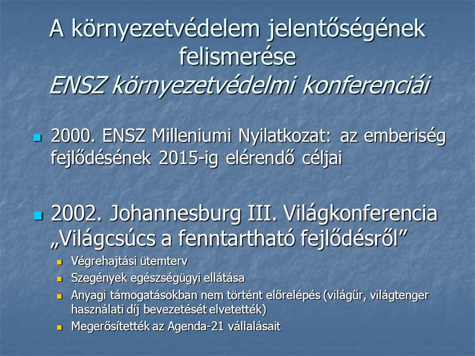 A környezetvédelem jelentőségének felismerése ENSZ környezetvédelmi konferenciái 2000. ENSZ Milleniumi Nyilatkozat: az emberiség fejlődésének 2015-ig