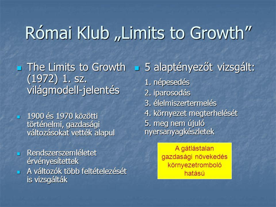 """Római Klub """"Limits to Growth A világmodell standard típusa Forrás: Buday-Sántha, 2006"""